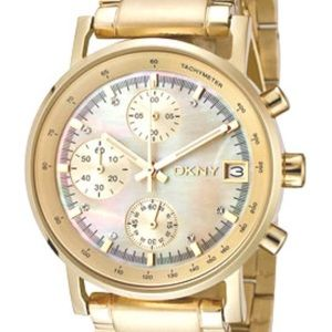 DKNY gold unisex watch with opal face & crystals
